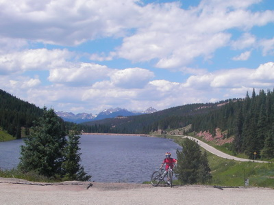 Picture of Nick on a bike at the top of Vail Pass